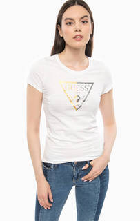 Белая хлопковая футболка Guess