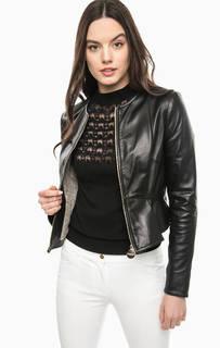 Черная кожаная куртка с баской Marciano Guess