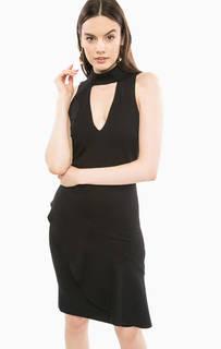 Приталенное черное платье с воланом Marciano Guess