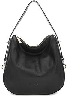 Черная кожаная сумка на молнии Coccinelle