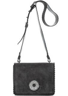 Замшевая сумка с декоративной отделкой Coccinelle