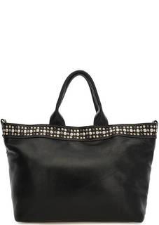 Вместительная кожаная сумка черного цвета Io Pelle
