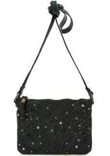 Маленькая кожаная сумка с отделкой камнями Campomaggi