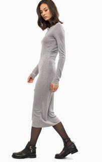 Серебристое трикотажное платье с длинными рукавами Patrizia Pepe