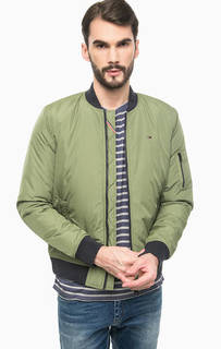 Утепленная куртка-бомбер цвета хаки Hilfiger Denim