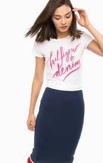 Хлопковая футболка с ярким принтом Hilfiger Denim