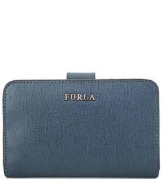 Синий кошелек из сафьяновой кожи Furla