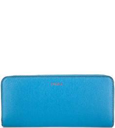 Синий кошелек из натуральной кожи Furla