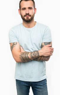 Голубая футболка с удлиненной спинкой Calvin Klein Jeans