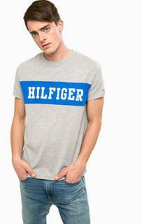 Серая хлопковая футболка с короткими рукавами Hilfiger Denim