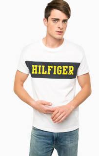 Белая футболка с ярким принтом Hilfiger Denim