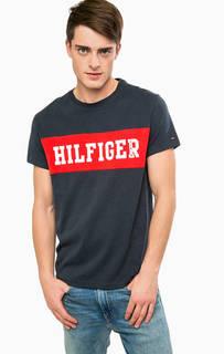 Синяя хлопковая футболка с принтом Hilfiger Denim