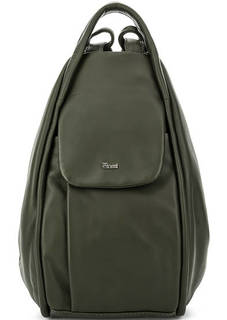 Сумка-рюкзак цвета хаки из гладкой кожи Bruno Rossi
