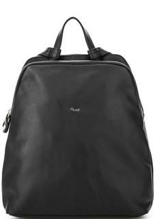 Черный кожаный рюкзак с двумя отделами Bruno Rossi