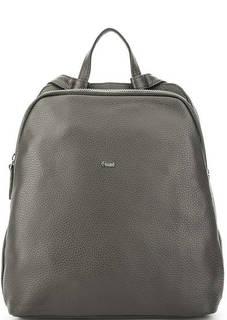 Серый кожаный рюкзак с двумя отделами Bruno Rossi