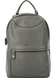Серый кожаный рюкзак на молнии Bruno Rossi