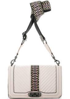 Кожаная сумка с текстильным плечевым ремнем Rebecca Minkoff