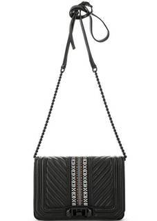 Кожаная сумка с текстильной вставкой Rebecca Minkoff