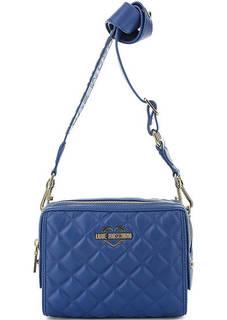 Маленькая стеганая сумка с широким плечевым ремнем Love Moschino