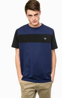 Синяя хлопковая футболка с короткими рукавами Fred Perry