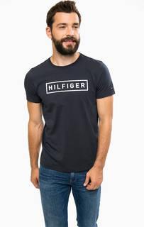 Синяя хлопковая футболка с принтом Tommy Hilfiger