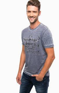Синяя трикотажная футболка с принтом Diesel