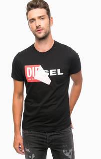 Черная хлопковая футболка с круглым вырезом Diesel