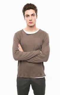 Коричневая хлопковая футболка с круглым вырезом Cinque