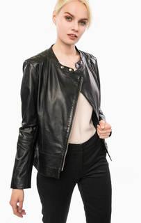 Черная кожаная куртка с двумя карманами Cinque