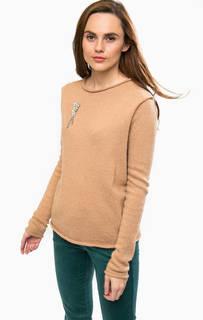 Коричневый шерстяной свитер с брошью Liu Jo