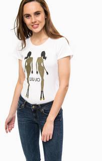 Хлопковая футболка с отделкой стразами Liu Jo