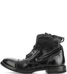 Черные кожаные ботинки на шнуровке Moma