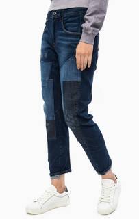 Синие джинсы бойфренды с заплатами G Star RAW