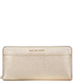 Кожаный кошелек золотистого цвета Michael Michael Kors