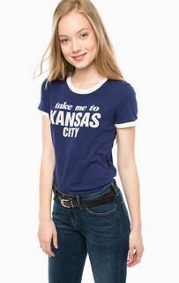 Синяя хлопковая футболка с принтом Lee