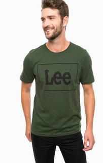 Зеленая хлопковая футболка с принтом Lee