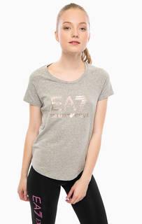 Хлопковая футболка с логотипом бренда EA7