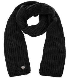 Черный вязаный шарф EA7