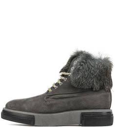 Замшевые ботинки с меховыми вставками Pollini