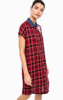 Платье-рубашка в клетку с вышивкой Diesel