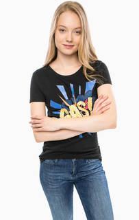 Черная футболка из хлопка с принтом Gas