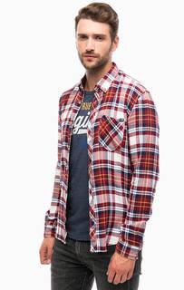 Хлопковая рубашка в клетку с карманом Tom Tailor Denim