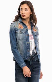 Джинсовая куртка с цветочной вышивкой Mavi