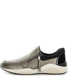 Серебристые кожаные кроссовки Geox