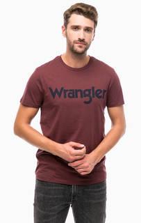 Бордовая футболка с логотипом бренда Wrangler