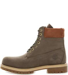 Высокие ботинки из нубука цвета хаки Timberland