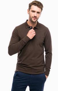Коричневая футболка поло с длинными рукавами Gant