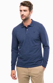 Синяя футболка поло с длинными рукавами Gant