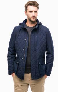 Синяя демисезонная куртка со скрытым капюшоном Gant