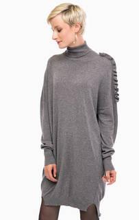 Серое платье-свитер свободного кроя Liu Jo